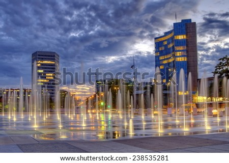 United-Nations place and international organisations buildings by night, Geneva, Switzerland, HDR - stock photo