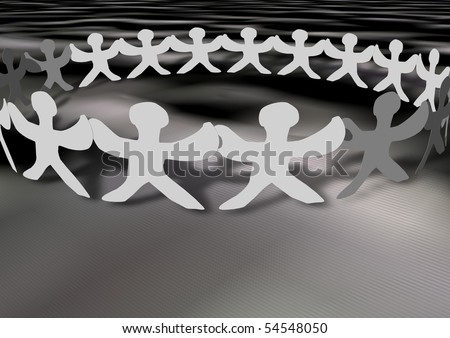United people chain with shadows, can be used for web or print - stock photo