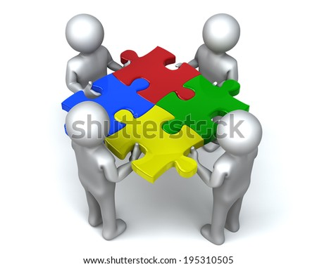 United Puzzle Men Four men completes jigsaw puzzle together - stock photo