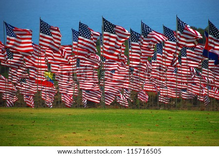 United State flag floating in the wind