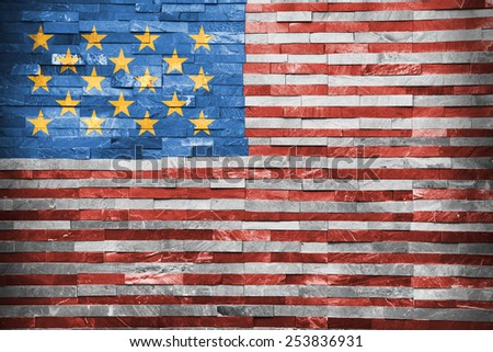 United State of America Flag painted on the wall - stock photo