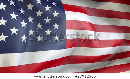 United State of America flag waving in the wind 3d Illustration