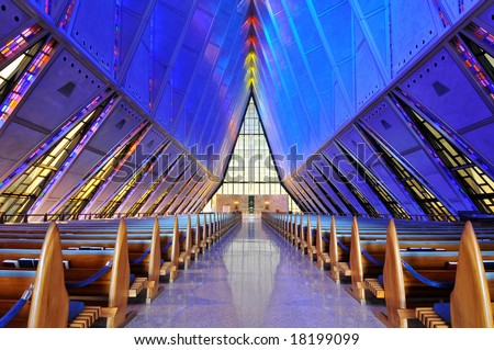 United States Air Force Academy Cadet Chapel Interior - stock photo