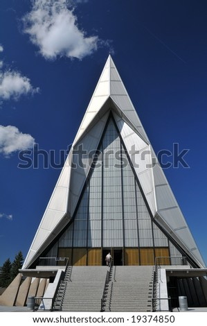 United States Air Force Academy Cadet Chapel near Colorado Springs, Colorado - stock photo