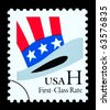 UNITED STATES AMERICA - CIRCA 2002: A postage stamp printed in the USA of Uncle Sam's Hat, circa 2002 - stock photo