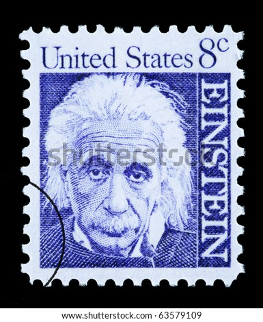 UNITED STATES AMERICA - CIRCA 1965: A postage stamp printed in the USA showing Albert Einstein, circa 1965 - stock photo