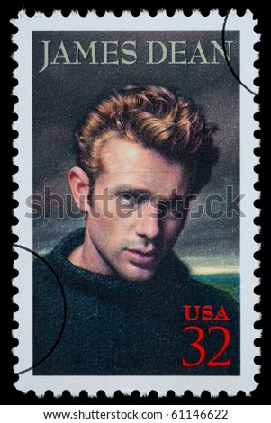 UNITED STATES AMERICA - CIRCA 2000: A postage stamp printed in the USA showing James Dean, circa 2000 - stock photo