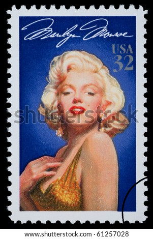 UNITED STATES AMERICA - CIRCA 2003: A postage stamp printed in the USA showing Marilyn Monroe, circa 2003 - stock photo
