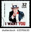 UNITED STATES AMERICA - CIRCA 1985: A postage stamp printed in the USA showing Uncle Sam, circa 1985 - stock photo