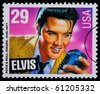 UNITED STATES AMERICA - CIRCA 1980: A postage stamp printed in USA showing Elvis Presley, circa 1980 - stock photo