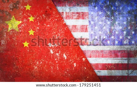 United States America confrontation China flag grunge vintage retro style - stock photo
