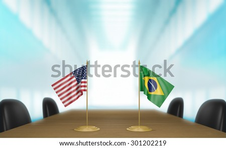 United States and Brazil relations and trade deal talks 3D rendering - stock photo