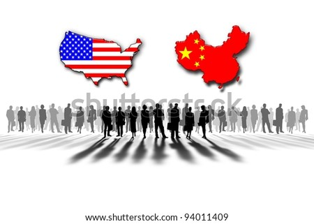 United States and China relations - stock photo