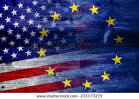 United States and European Union Flag painted on old wood plank texture