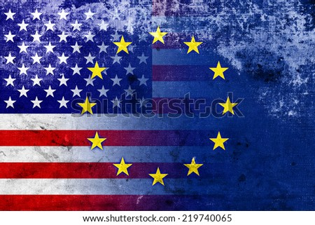 United States and European Union Flag with a vintage and old look - stock photo