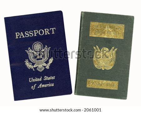 United States and Peru passports (With clipping path) - stock photo