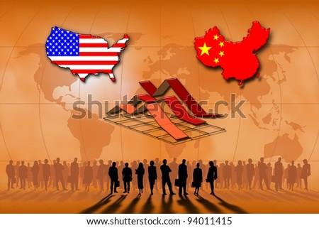 United States and the China statistics - stock photo