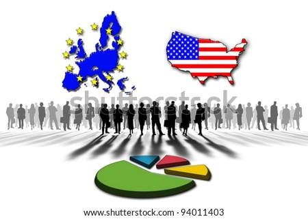 United States and the European Union statistics - stock photo