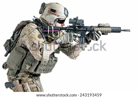 United States Army ranger with assault rifle - stock photo