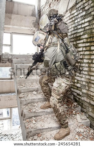 United States Army rangers during the military operation - stock photo