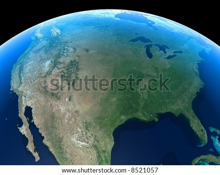 United States as seen from Space - stock photo