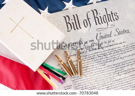 United States Bill of Rights by Bible and bullets - stock photo