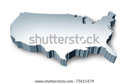United States blank 3D map isolated on white background. - stock photo