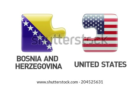 United States Bosnia and Herzegovina High Resolution Puzzle Concept - stock photo