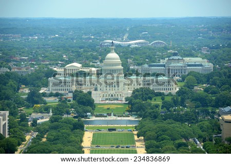 United States Capitol Building aerial View from the top of Washington Monument in Washington, District of Columbia, USA - stock photo