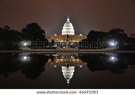 United States Capitol Building at night, Washington DC