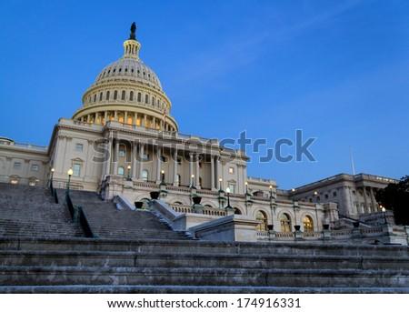 United States Capitol Building Back Steps - stock photo