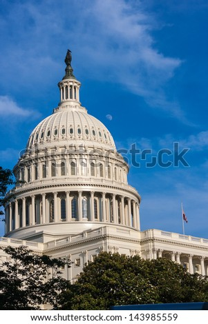 United States Capitol Building Dome with Moon, Washington D.C.