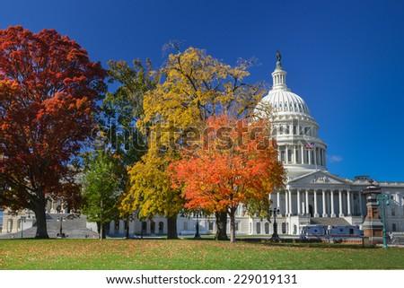 United States Capitol Building in Autumn foliage - Washington DC, USA - stock photo