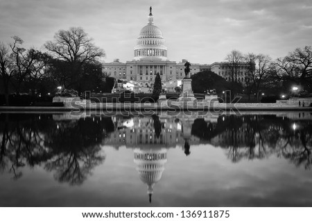 United States Capitol Building in Washington DC - Black and white toned  - stock photo
