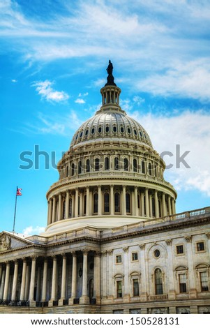 United States Capitol building in Washington, DC on a sunny day - stock photo