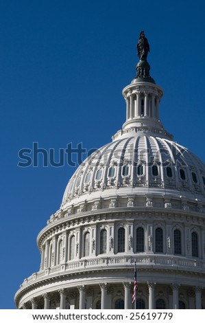 United States Capitol Building with Beautiful Blue Sky - stock photo