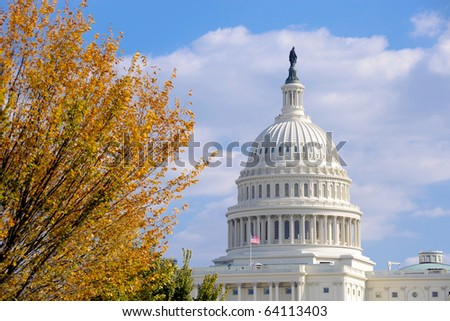 United States Capitol in Autumn - stock photo