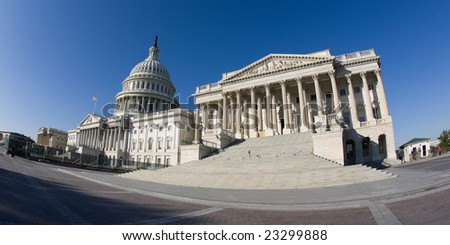 United States Capitol shot with fish-eye lens. - stock photo