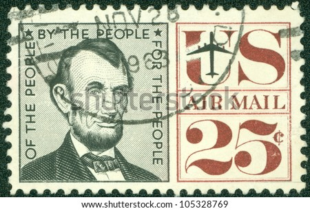 UNITED STATES - CIRCA 1959: A airmail stamp printed in United States. Old American airmail stamp showing the image of President Abraham Lincoln, series, circa 1959 - stock photo