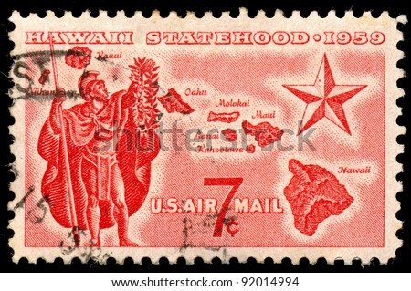 UNITED STATES - CIRCA 1959: A 7 cents stamp printed in the United States shows Alii Warrior, Map of Hawaii and Star of Statehood, circa 1959 - stock photo