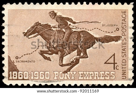 UNITED STATES - CIRCA 1960: A 4 cents stamp printed in the United States shows Pony Express Rider, circa 1960 - stock photo