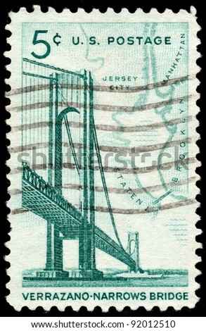 UNITED STATES - CIRCA 1964: A 5 cents stamp printed in the United States shows Verrazano-Narrows Bridge and Map of NY Bay, circa 1964 - stock photo