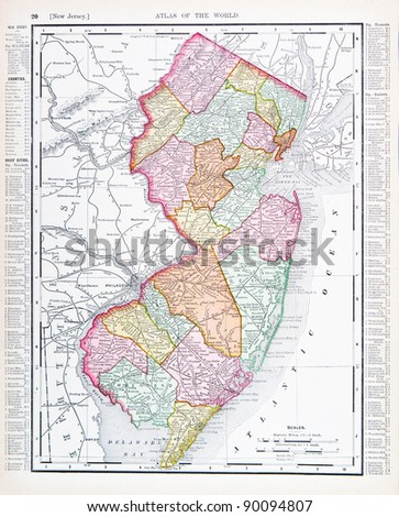 UNITED STATES - CIRCA 1895:  A map printed in the United States shows the State of New Jersey, circa 1895. - stock photo