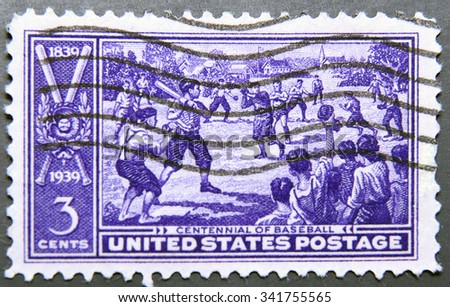 UNITED STATES, CIRCA 1939: A postage stamp of Uniterd States commemorating 100 years since the invention of Baseball - stock photo