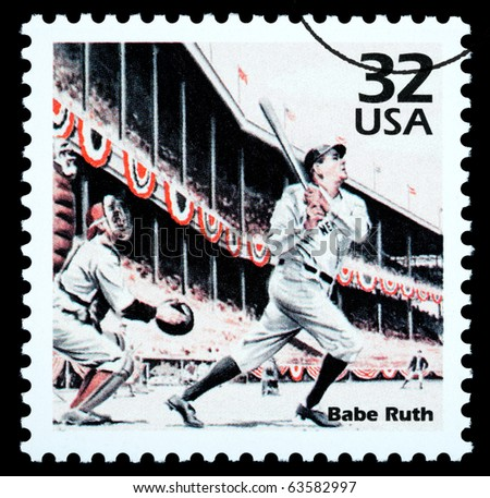 UNITED STATES - CIRCA 2002: A postage stamp printed in the USA showing Babe Ruth, circa 2002 - stock photo