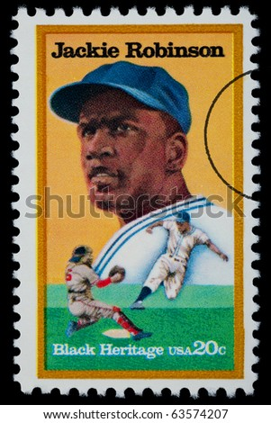 UNITED STATES - CIRCA 1975: A postage stamp printed in the USA showing Jackie Robinson, circa 1975 - stock photo