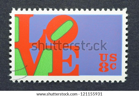 UNITED STATES - CIRCA 1973: a postage stamp printed in United States showing an image of the Love made by Robert Indiana, circa 1973.