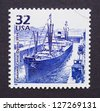UNITED STATES - CIRCA 1998: a postage stamp printed in USA commemorative of the Panama canal opening, circa 1998. - stock photo