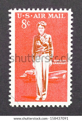 UNITED STATES - CIRCA 1963: a postage stamp printed in USA showing a image of Amelia Earhart, circa 1963.  - stock photo