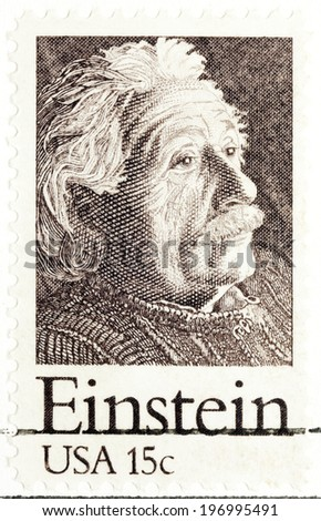 UNITED STATES CIRCA 1979: a postage stamp printed in USA showing an image of Albert Einstein, circa 1979 - stock photo